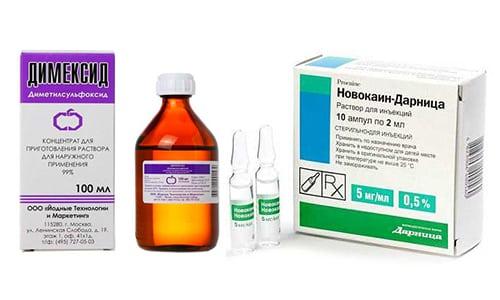 Для лечения патологий опорно-двигательной системы используются медикаменты с противовоспалительными и обезболивающими свойствами, такие как Димексид и Новокаин