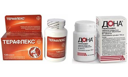 Дона или Терафлекс - препараты, относящиеся к большой группе хондропротекторов, содержащих в своем составе вещества, присутствующие в хрящевых и суставных тканях