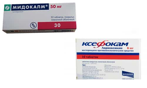 Ксефокам и Мидокалм - препараты, назначаемые при остеохондрозе, радикулите, головной боли напряжения
